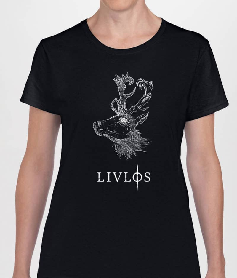 LIVLØS - Black T-shirt with White Deer (girls)