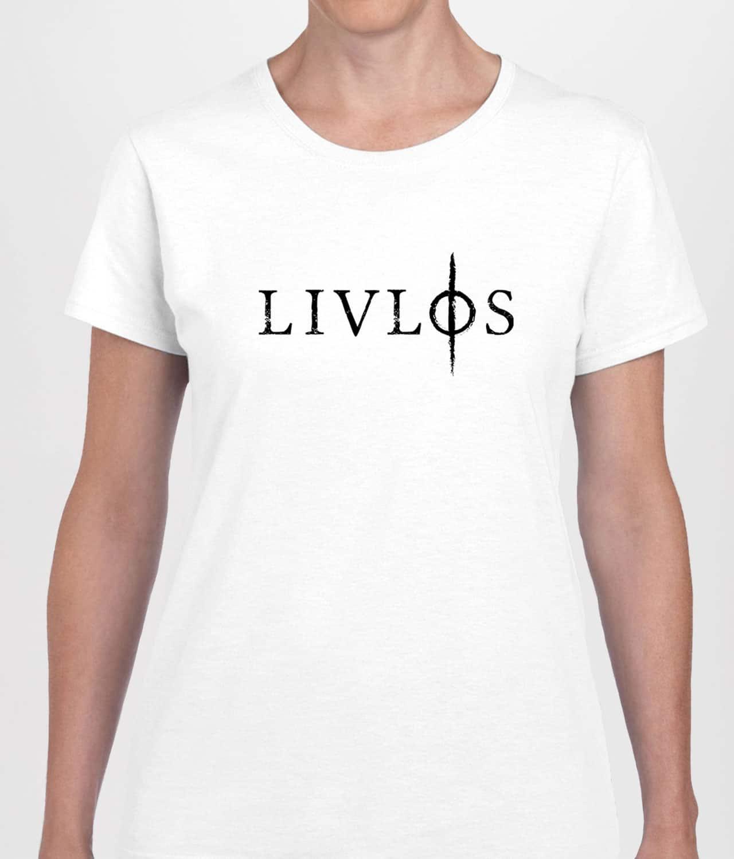 80d878d8 LIVLØS - White T-shirt with Black Logo (Womens) - Merch City