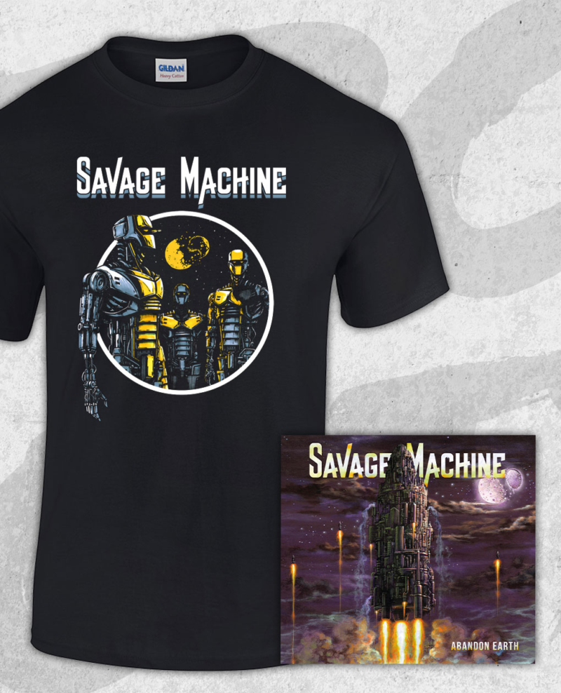 Savage Machine Bundle: Abandon Earth CD + Robots T-shirt (Guys)