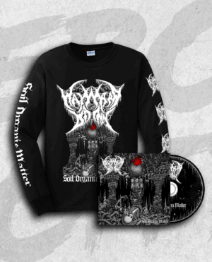 Black long sleeve T-shirt with Soil Organic Matter artwork and band logo on front, and albumtitle and band logos on sleeves.