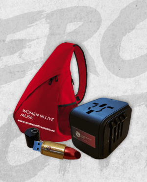 Women In Live Music: Red Shoulder Bag, USB Lipstick and Travel Adapter bundle
