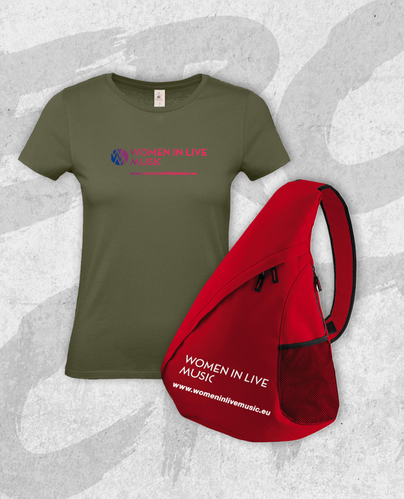 Get the t-shirt and a red shoulder bag to show the world that you are a Woman In Live Music