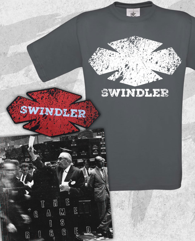 Swindler - The Game Is Rigged Vinyl, Dark Grey T-shirt and Patch Bundle