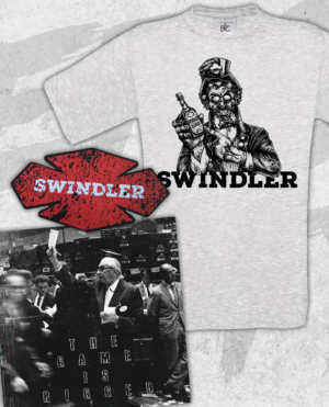 Swindler - The Game Is Rigged Vinyl, Ash T-shirt and Patch Bundle