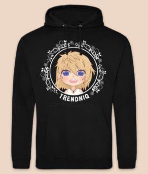 trendniq-hoodie-jet black-white logo-front-2