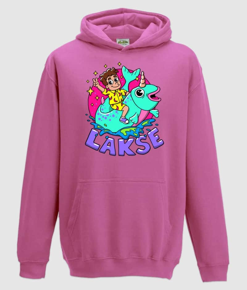 lakserytteren-hoodie-candycrush-pink-lilla-tekst