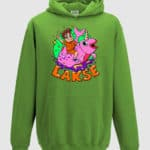 lakserytteren-hoodie-lime-green-orange-tekst