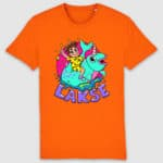lakserytteren-tshirt-bright-orange-lilla-tekst