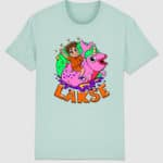 lakserytteren-tshirt-caribean-blue-orange-tekst