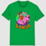 lakserytteren-tshirt-fresh-green-orange-tekst